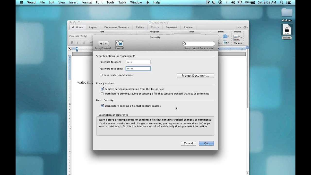how to password protect word doc on mac