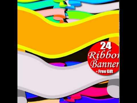 Digital Clipart Ribbon Banner & Rainbow Border Frame Tag - Ribbon Clip Art