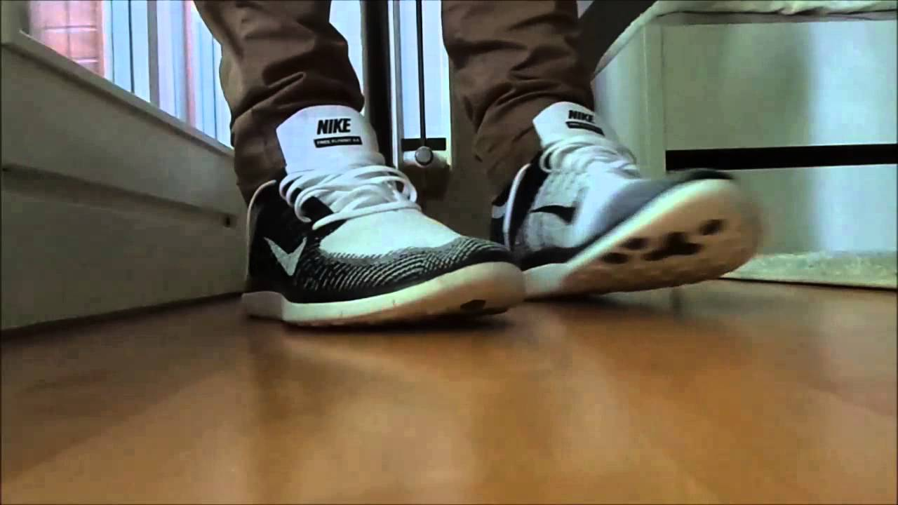 buy online 0e87f ba897 Nike Free Flyknit 4.0 Black   White On-feet review - YouTube