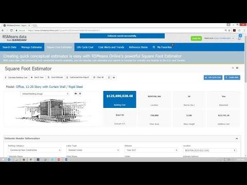 RSMeans Data Online Square Foot Estimator - YouTube