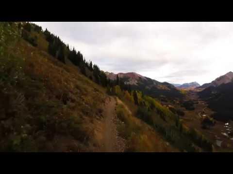 Mountain Biking  through golden aspens, Trail 401 in Crested Butte