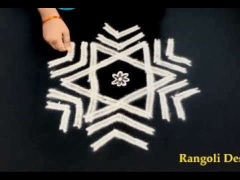 star rangoli designs with 5 dots - 5 pulli kolam - star muggulu designs - 5X3 Dots