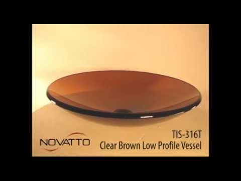 TIS-316T Clear Tea Low Profile Round Glass Vessel Sink - YouTube