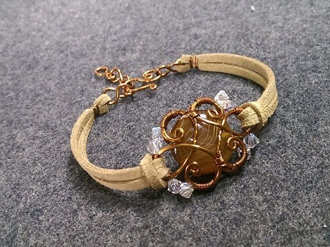 Bracelet with leather cord and stone no hole - DIY copper wire jewelry 192