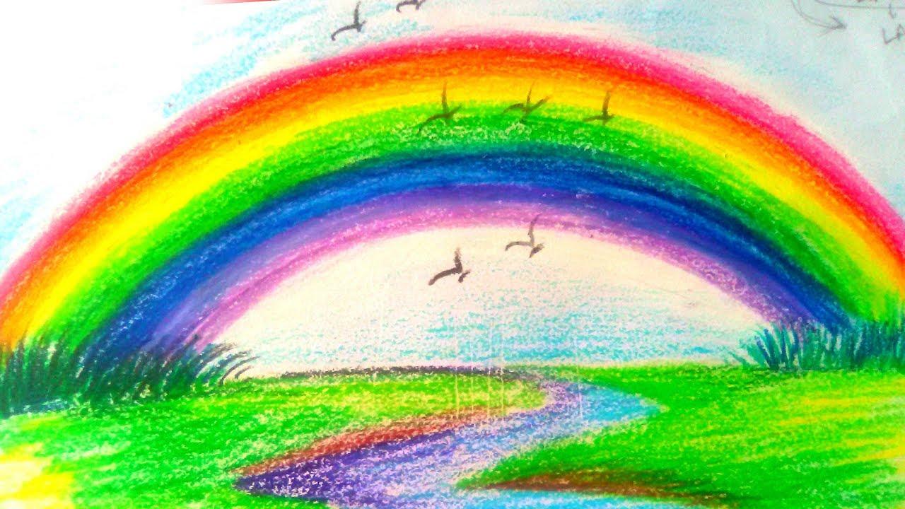 картинка радуга дождь и солнце нарисовать