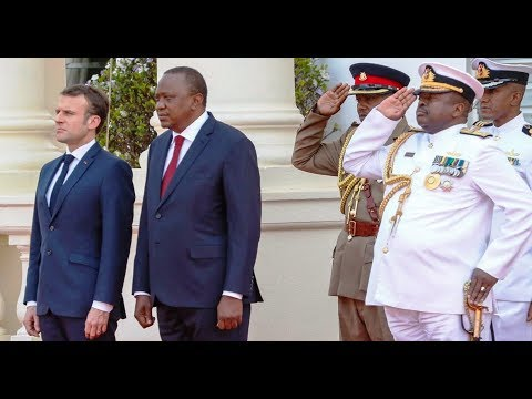 EMMANUEL MACRON GUARD OF HONOUR AND GUN SALUTE IN KENYA VISIT!!!