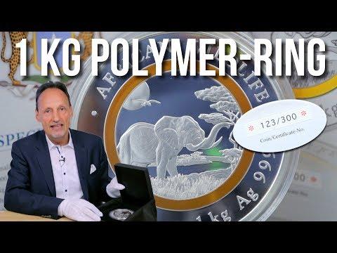 1 KG POLYMER-RING SILBERMÜNZE - SOMALIA ELEFANT 2019