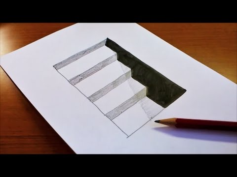 How to draw 3d hole stairs for kids anamorphic illusion 3d trick art on paper youtube