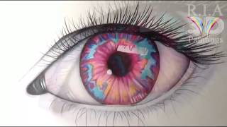 How to Draw a Eye an Opal Coloured-5  By Ria 3d Paintings
