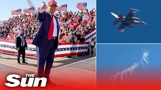 F-16 fighter jet flares warn off aircraft over Trump's Arizona rally
