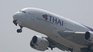 Thai Airways International Airbus A380 HS-TUD Takeoff from KIX 06R