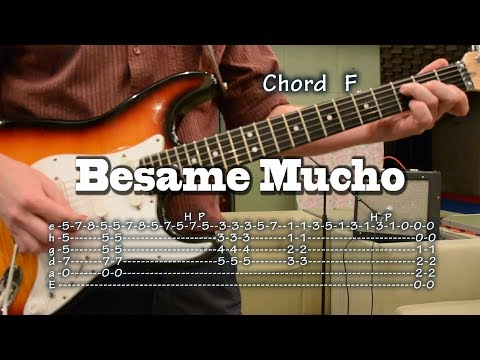Besame Mucho - guitar Tab and Chords, backing track for bass and rhythm guitar, como tocar, lesson