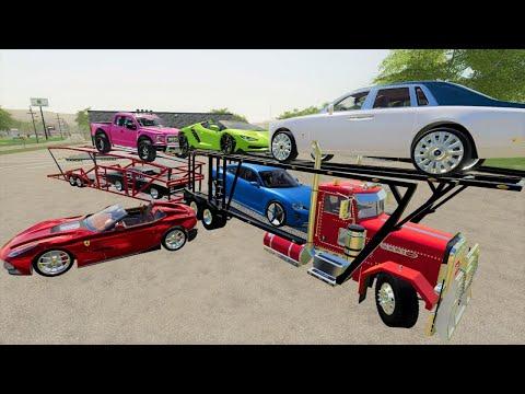 Delivering MILLION dollar luxury cars (We Crash)   Farming Simulator 19  