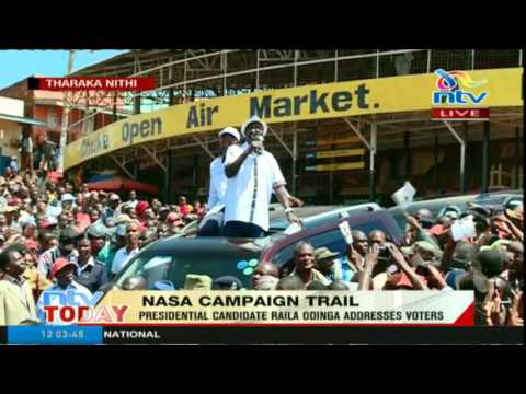 Presidential candidate Raila Odinga addresses voters in Tharaka Nithi County