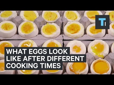 What eggs look like after different cooking times