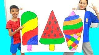 3 Giant Ice Cream, Belajar Menggambar dan Mewarnai untuk Anak