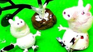 Peppa Pig свинка Пеппа и ее семья. Мультфильм для детей. Пеппа новая серия. Побелка деревьев