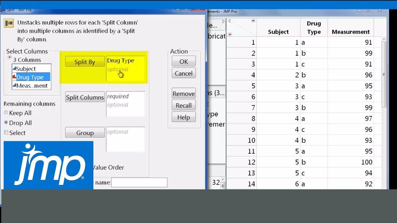 How to Split a Column in a Data Table Using a Grouping Column in JMP