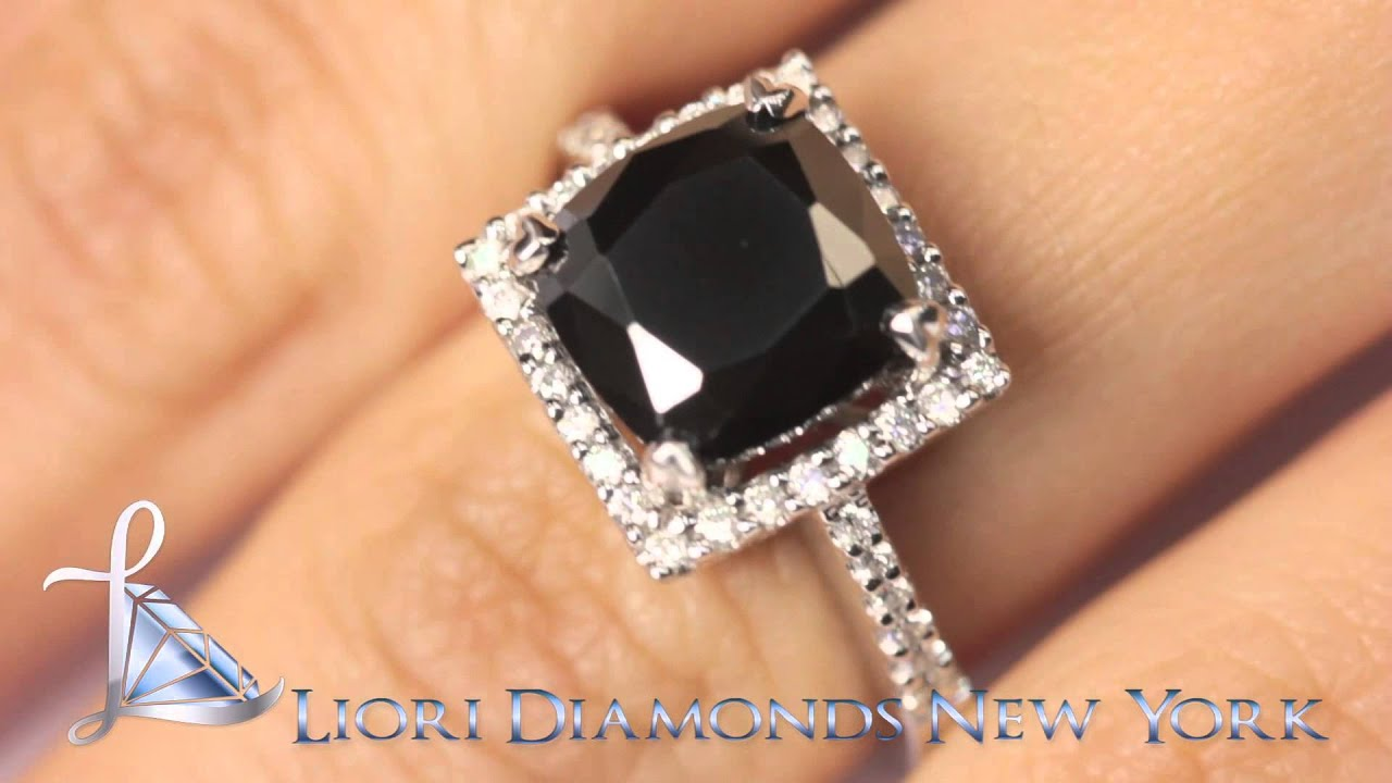 BDR 155 4 94 CT Cushion Cut Black Diamond Engagement Ring 14K