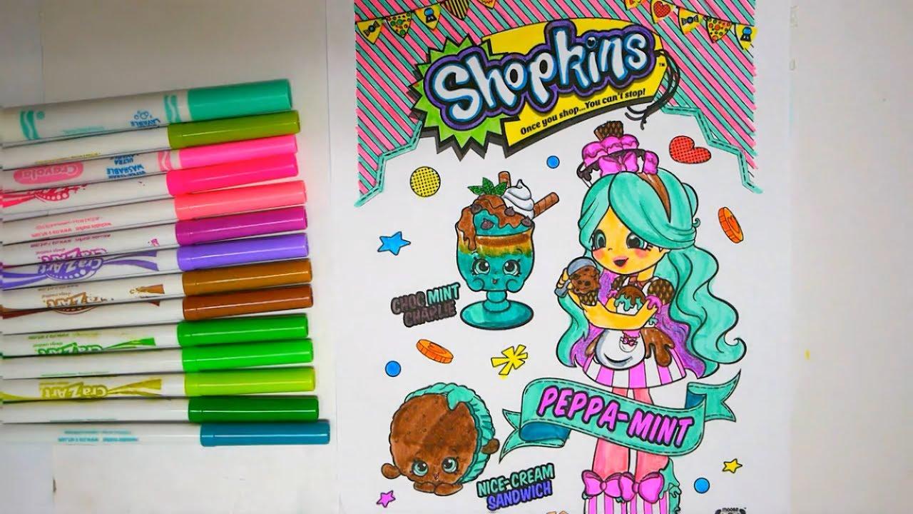 Shopkins coloring peppa mint