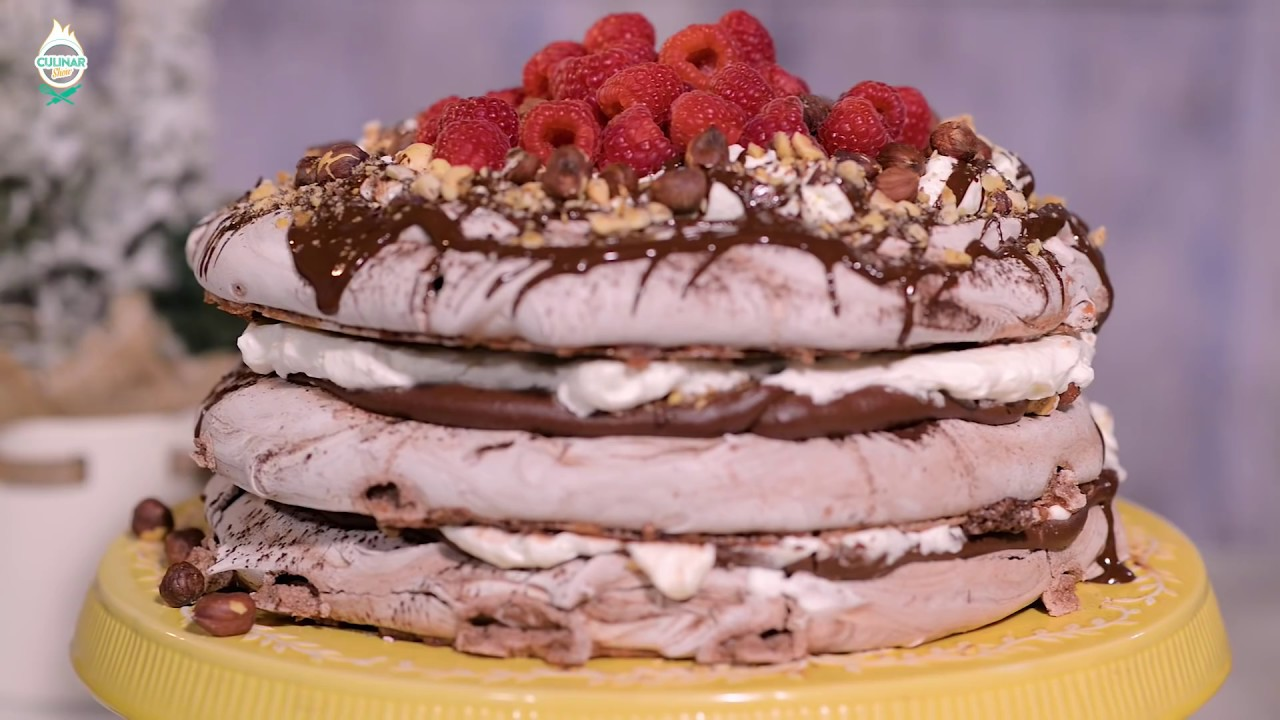 Reteta - Tort Pavlova cu ciocolata si zmeura - cu Ana Consulea (pastry chef) | Bucataras TV