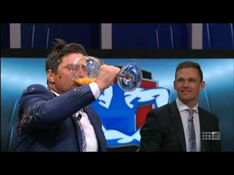 Sam Newman & Shane Crawford - The raw egg drink/fight  (The Footy Show)