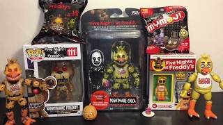 Five Nights at Freddy's Nightmare Chica, Freddy Funko Pop, Toy Chica Buildable & Blind Bags Opening