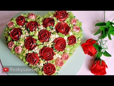 Heart Shaped Ercream Rose Bouquet Cake Tutorial For Valentine S Day Birthday Or Anniversary