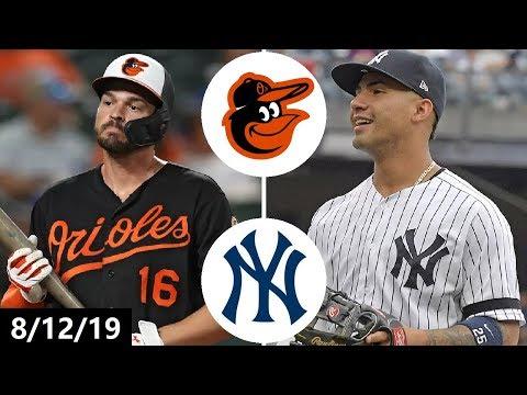 Baltimore Orioles Vs New York Yankees Highlights (Game 1)   August 12, 2019 (2019 MLB Season)