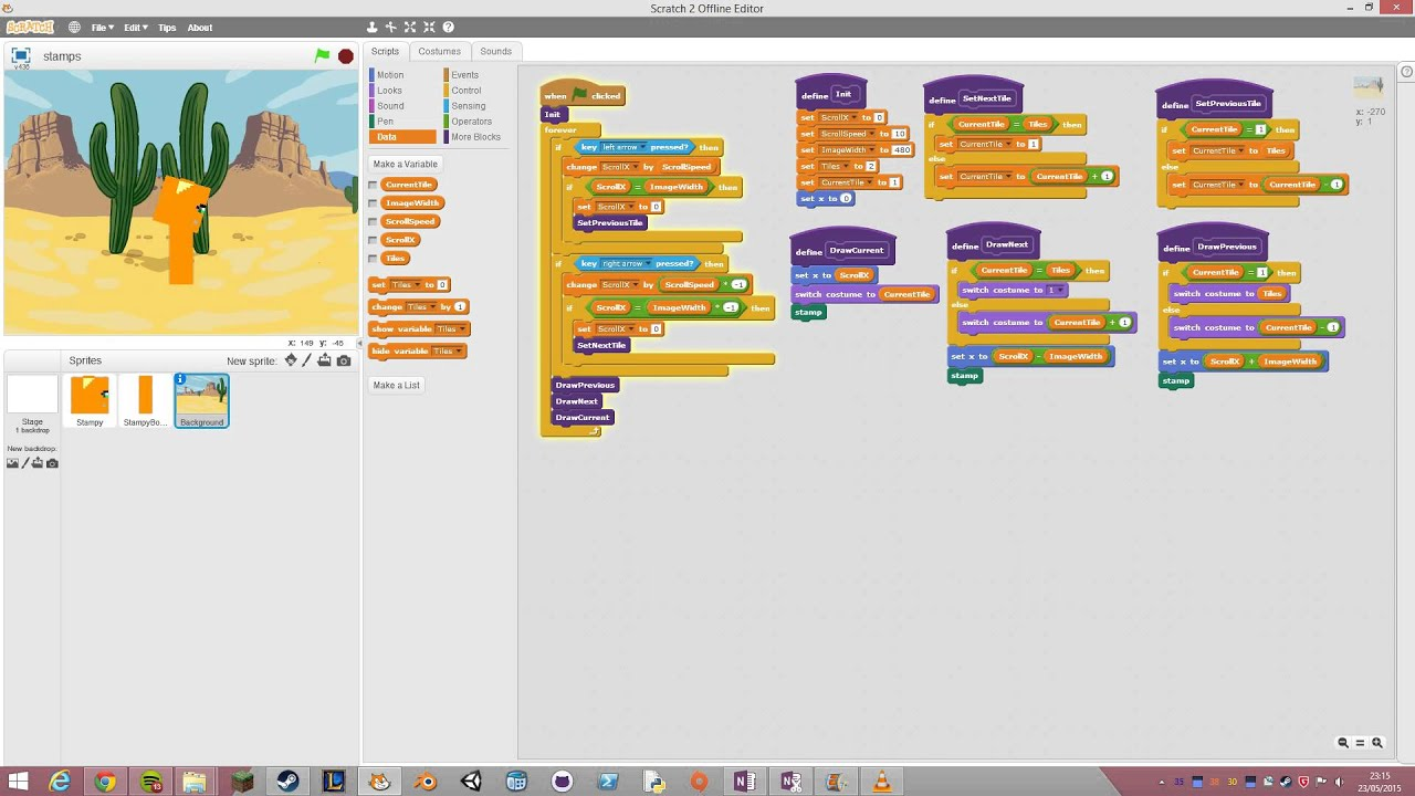 Infinite scrolling in scratch