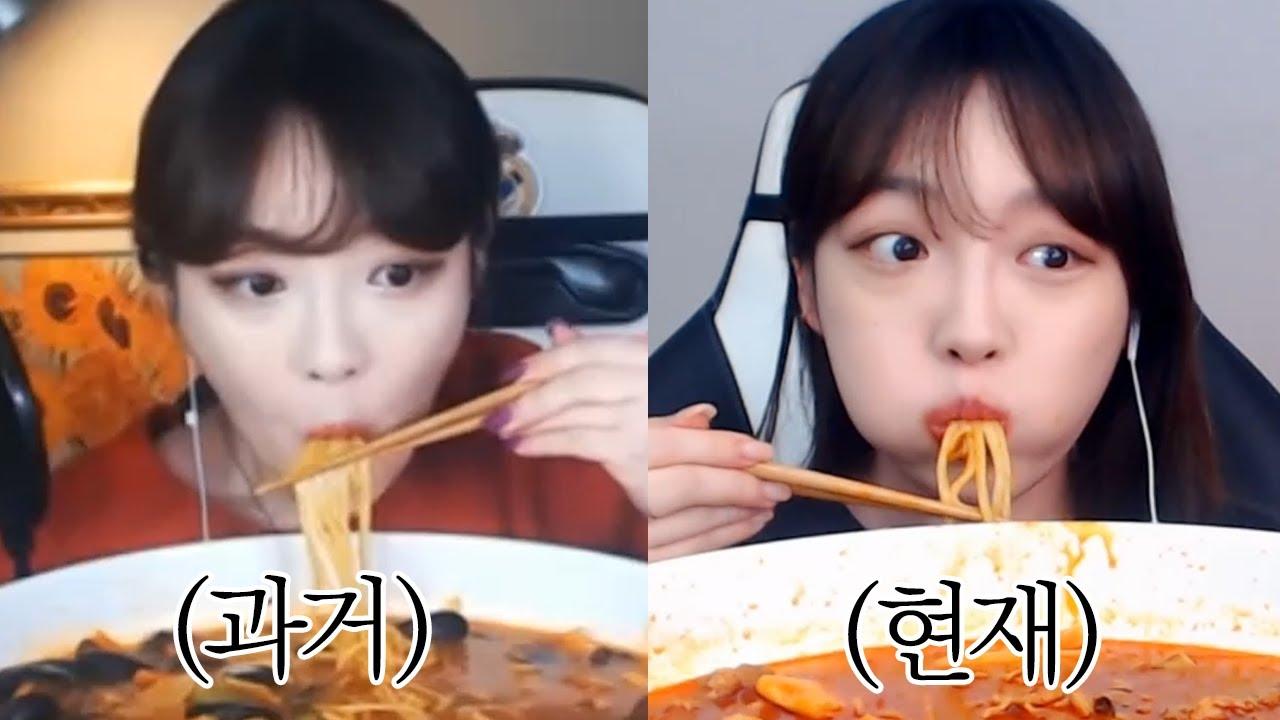 [2018 vs 2021] 3년전 내 자신과 해물차돌짬뽕 미러전 먹방!🔥/ Mukbang Eating Show