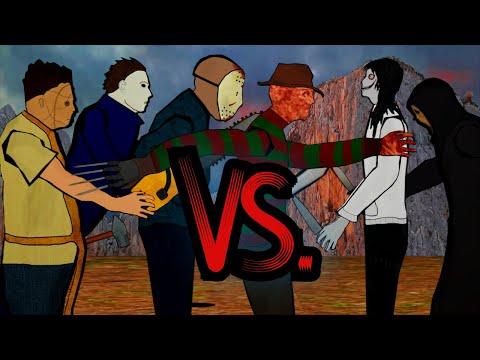 Jason Voorhees vs Freddy Krueger vs Michael Myers vs Jeff the Killer vs Leatherface vs Ghostface
