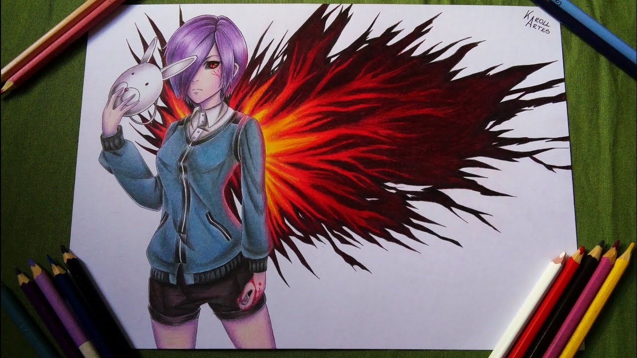 Speed Drawing Touka Tokyo Ghoul Collab Youtube