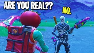 I PRETENDED TO BE A FANBOY OF MYSELF ON FORTNITE... (THIS NOOB FALLS FOR IT)