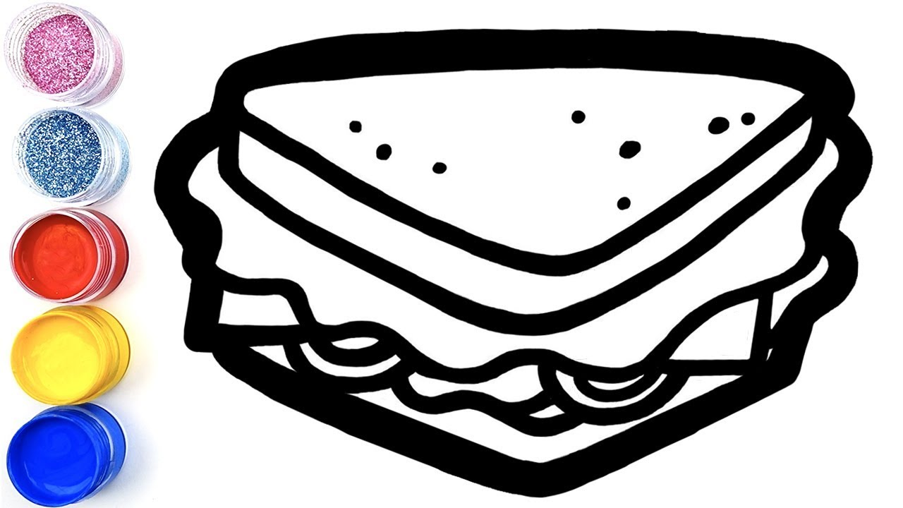 Sandwich Coloring Pages  How to Draw a Sandwich for kids  Simple Toy Art