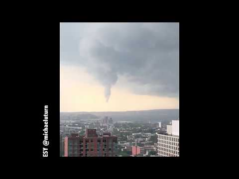 Funnel cloud over New York Harbor