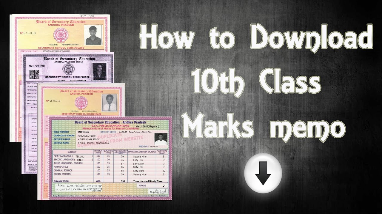 Board Of Secondary Education Andhra Pradesh Ssc Memo How to download 41th class Marks memo YouTube 37