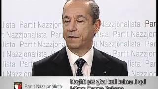 Il-Prim Ministru Lawrence Gonzi waqt konferenza għall-ġurnalisti