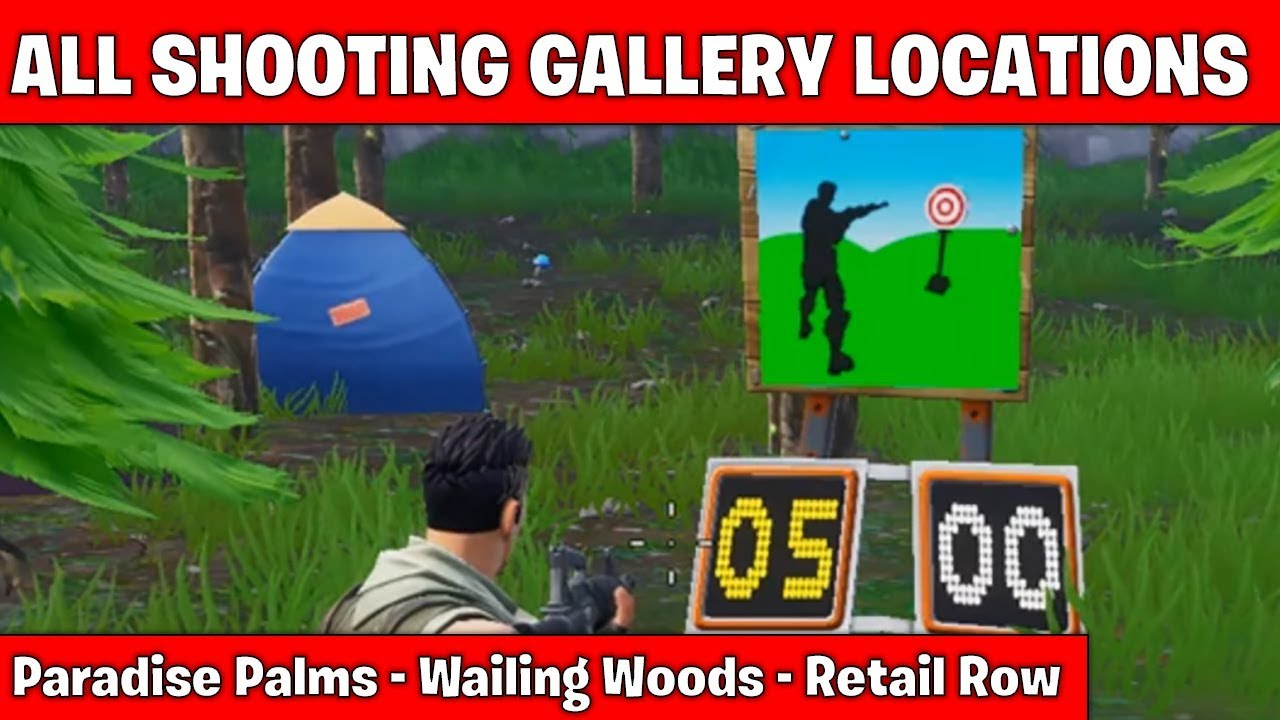 all shooting gallery locations fortnite season 7 week 10 - shooting galleries fortnite locations week 10