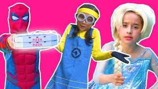 SPIDERMAN DELIVERS CANDY PIZZA TO FROZEN ELSA Minions Pranks Disney Princesses In Real Life Movie