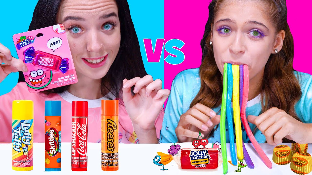 ASMR REAL CANDY VS FLAVORED CANDY LIP BALM | Eating Sounds LiLiBu