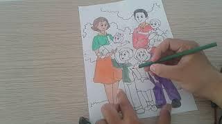 Cách phối màu tô tranh gia đình cực đẹp