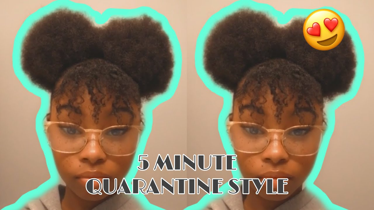 TWO PUFFS WITH A BANG ON TYPE 4 HAIR!! (5 MINUTE Style for QUARANTINE)
