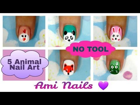 No Tool Nails Tutorial Animal Nail Art For Short Nails