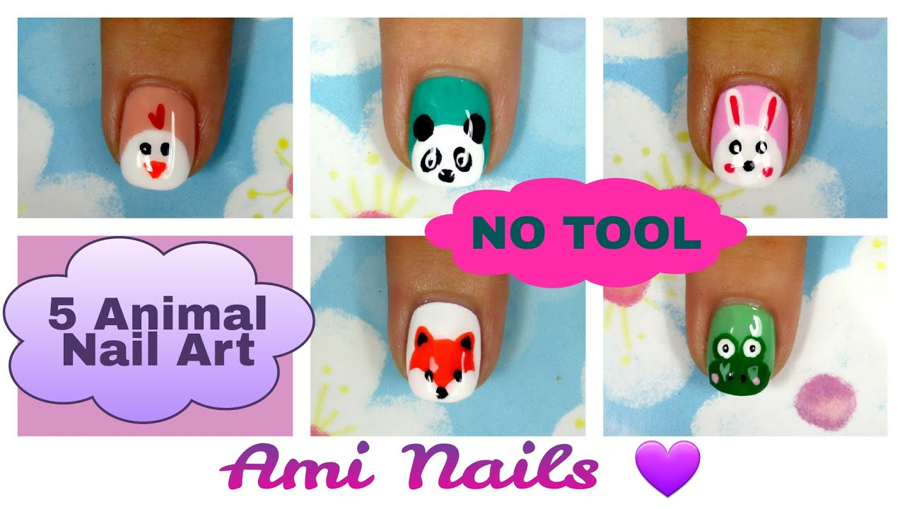 No Tool Nails Tutorial! 5 Animal Nail Art for Short Nails | Ami Nails - No Tool Nails Tutorial! 5 Animal Nail Art For Short Nails Ami