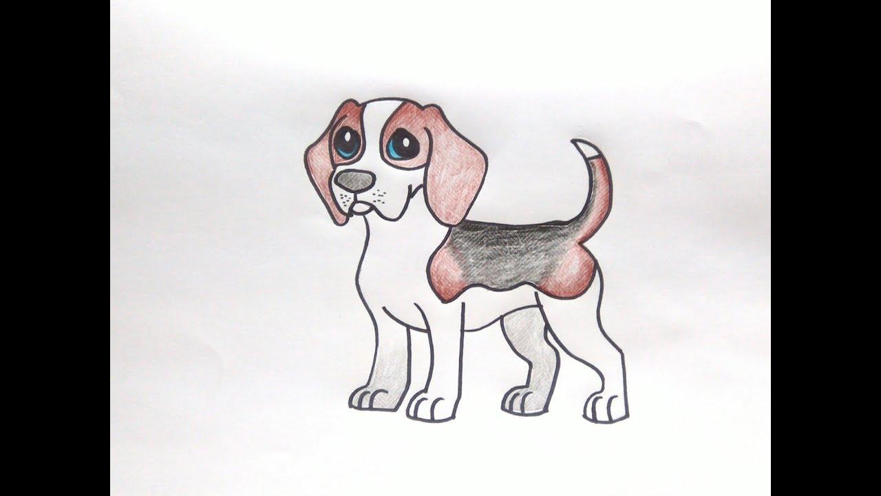 How To Draw Cute Beagle Dog Cartoon Easy Step by Step ...