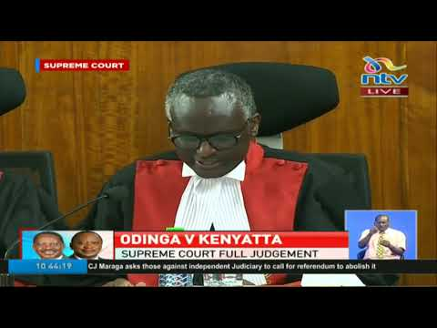 Supreme Court Judge Isaac Lenaola reading the introduction part of the Supreme Ruling