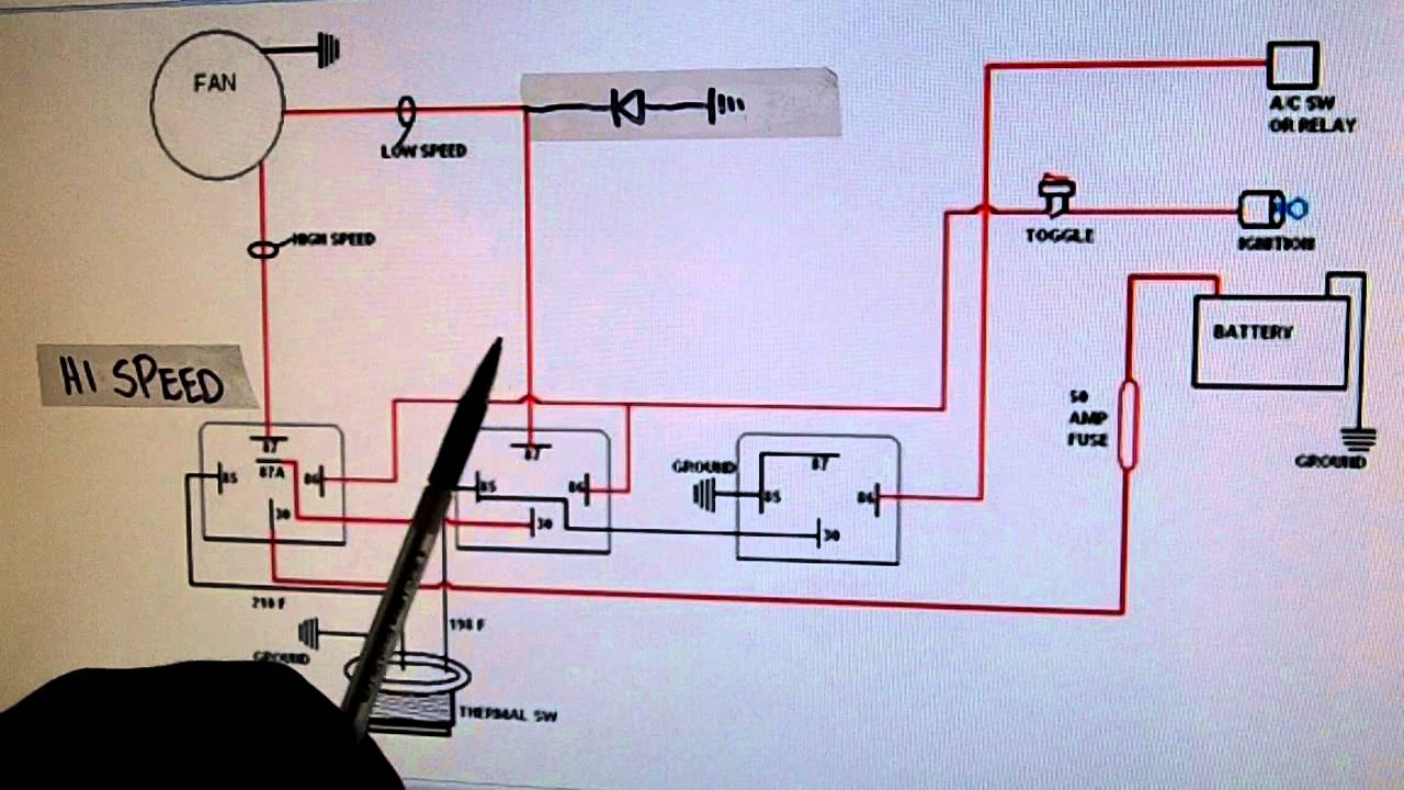 2- speed electric cooling fan wiring diagram - youtube 2004 mustang gt radiator fan wiring diagram