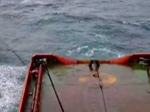 supplying fuel at sea to a towing tug