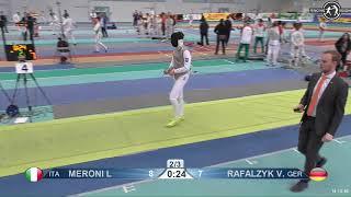 2018 1234 T128 M F Individual Halle GER European Cadet Circuit YELLOW RAFALZYK GER vs MERONI ITA